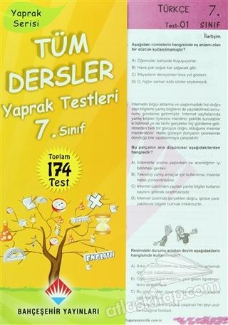 TÜM DERSLER YAPRAK TESTLERİ 7. SINIF ( (YAPRAK SERİSİ - TOPLAM 174 TEST) )
