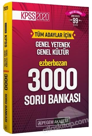 2020 KPSS GENEL YETENEK GENEL KÜLTÜR EZBERBOZAN 3000 SORU BANKASI (  )