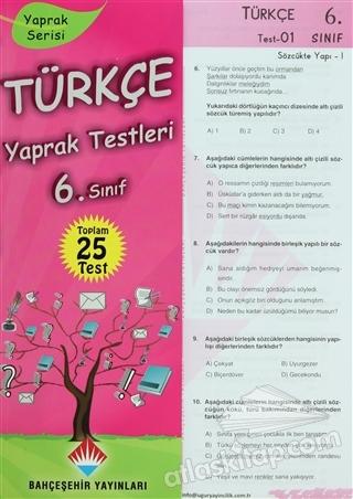 TÜRKÇE YAPRAK TESTLERİ 6. SINIF (  )
