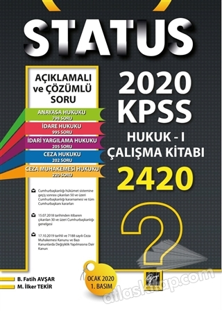 STATUS 2020 KPSS HUKUK - 1 ÇALIŞMA KİTABI (  )