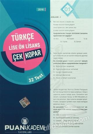 LİSE-ÖNLİSANS TÜRKÇE ÇEK KOPAR YAPRAK TEST (  )