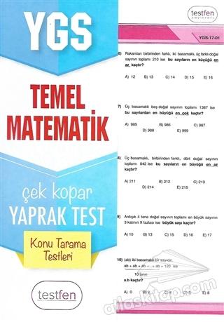 2018 YGS TEMEL MATEMATİK KONU TARAMA YAPRAK TESTLERİ (  )