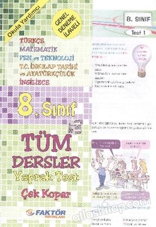 8. SINIF SBS TÜM DERSLER ÇEK KOPAR YAPRAK TEST ( GENEL DENEME İLAVELİ )